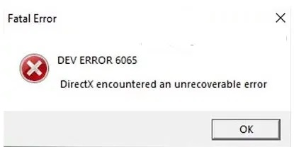 dev error 6065 Modern Warfare